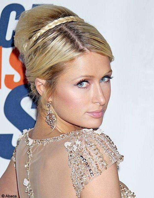 Beaute cheveux coiffure tendance chignon haut Paris Hilton