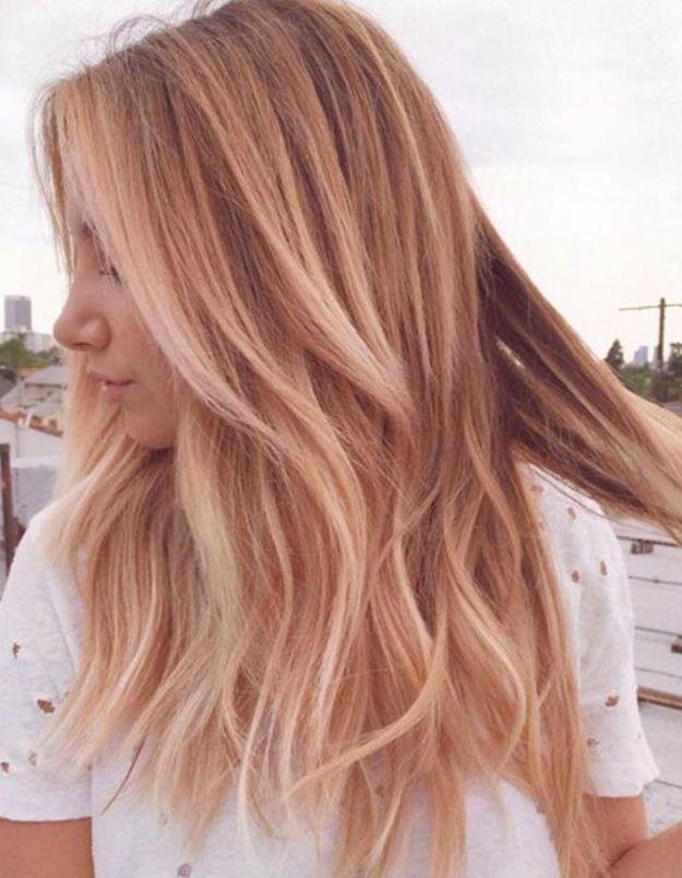 Balayage cuivré sur blond