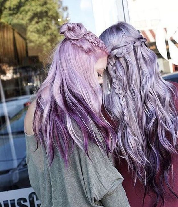 Cheveux violets dégradés
