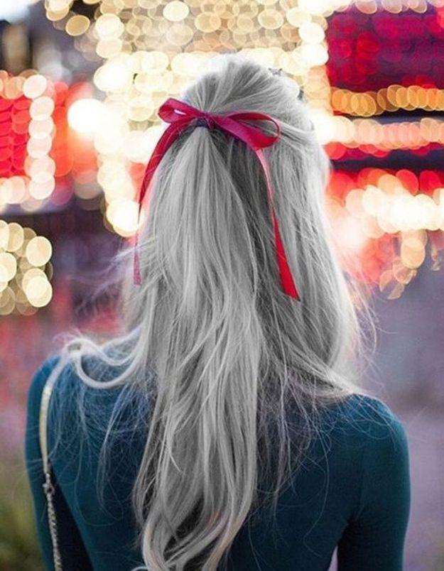 Coiffure cheveux longs avec ruban automne-hiver 2018
