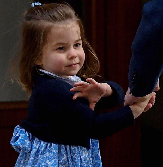 Charlotte rend visite à la maternité à son petit frère Louis qui vient tout juste de naître, le 23 avril 2018.