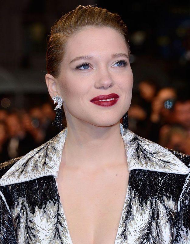 Le rouge à lèvres profond de Léa Seydoux à Cannes