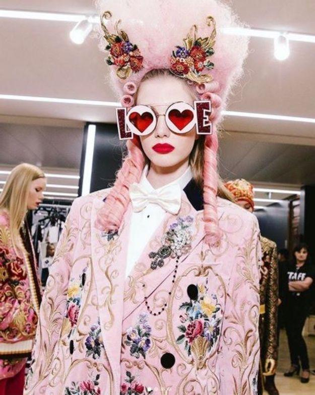 La bouche rouge du défilé Dolce & Gabbana