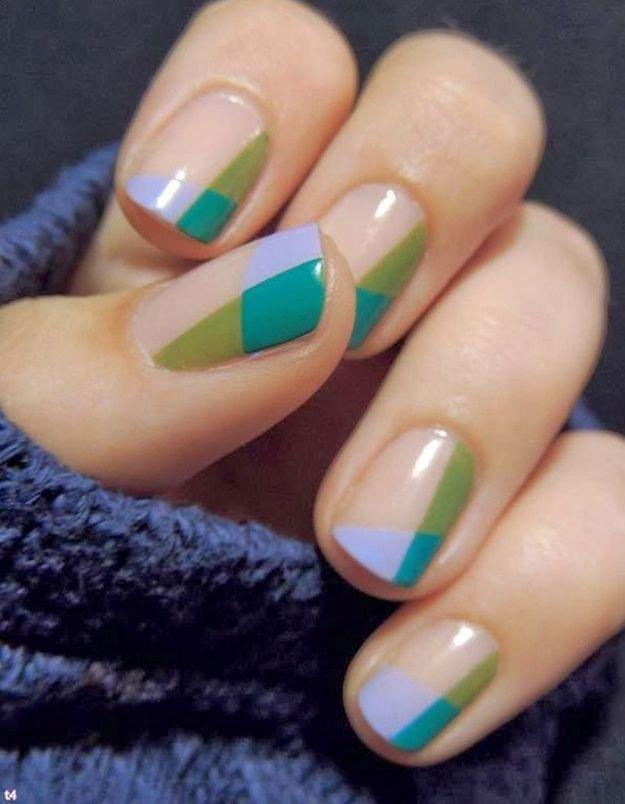 Manucure printemps géométrique
