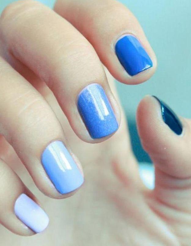 Manucure printemps nuances de bleu