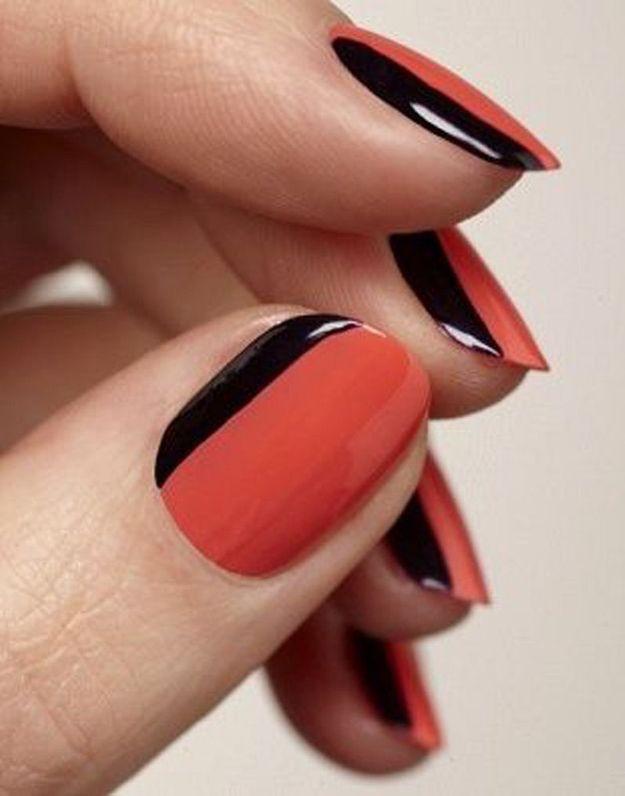 La manucure bicolore orange et noir