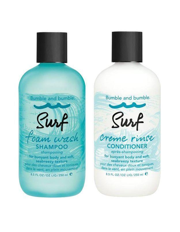 Bumble and Bumble, Surf Foam Wash Shampoing et Après-shampoing, 26 € et 25 €