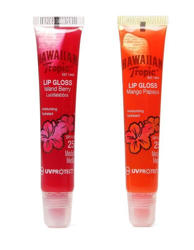 Hawaiian Tropic, Lip Gloss SPF 25 Mangue Papaye et Fruits rouges, 8 €