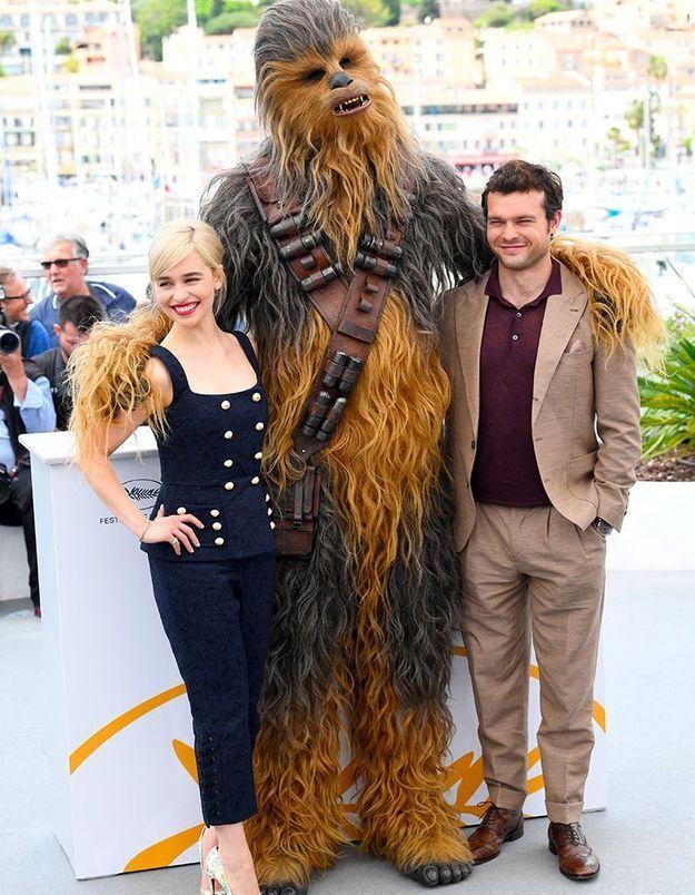 Emilia Clarke, Chewbacca et Alden Ehrenreich