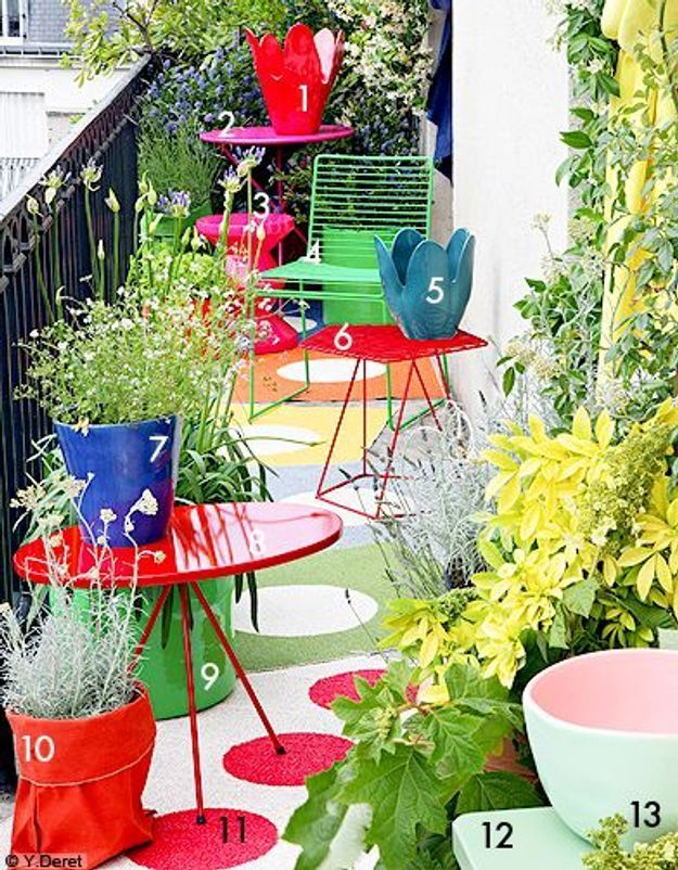 Decoration shopping tendance balcon terrasse verdure color block