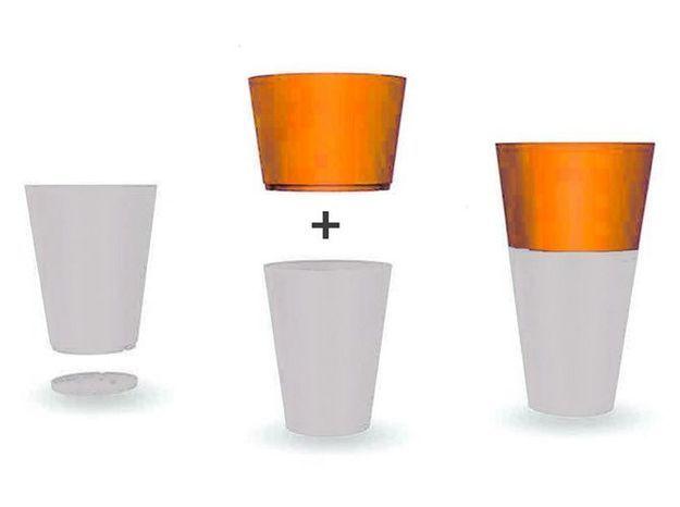 Pot tokyo duo hauteur 79 cm gris a orange
