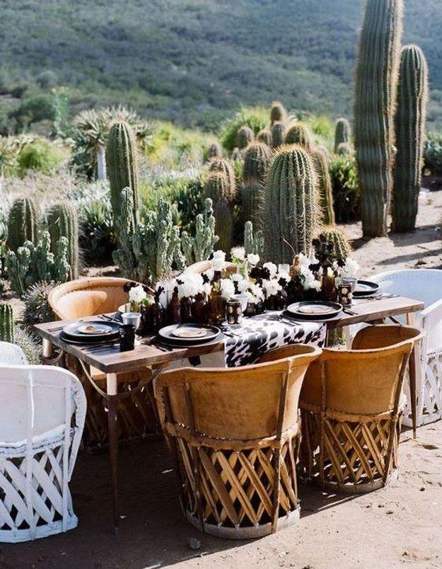 Placer sa table à proximité d'une plante exotique pour un style hacienda