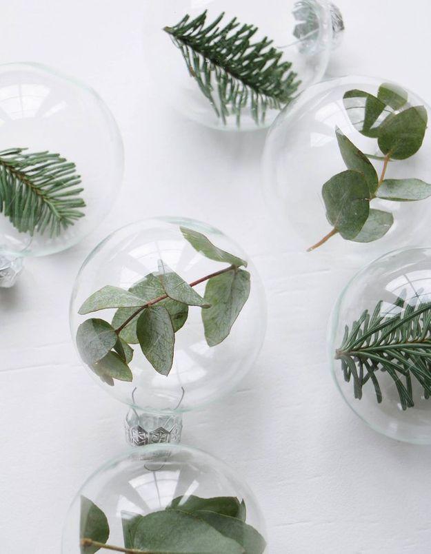 De l'eucalyptus séché dans des boules de Noël