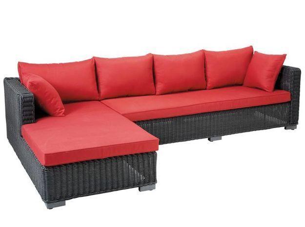 Canape exterieur rouge noir maisons du monde