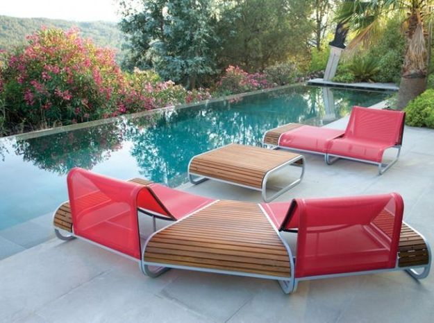 Salon de jardin modulable rouge et bois
