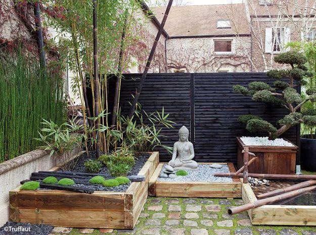 Un jardin zen en rouge et noir - Elle Décoration