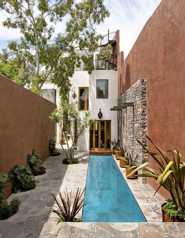 Un couloir de nage dans un jardin étroit