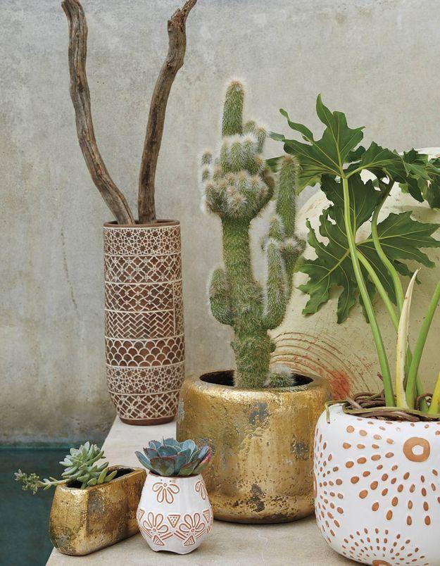 Bomber des pots de fleurs en doré pour allier déco et petit budget