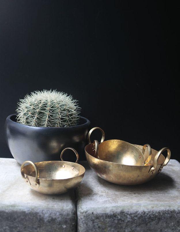 Un wok en laiton Démodé comme cadeau de Noël déco