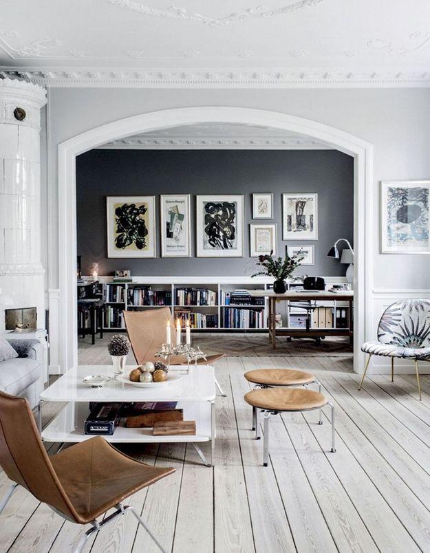 Le fauteuil Beetle à motif dans un salon scandinave