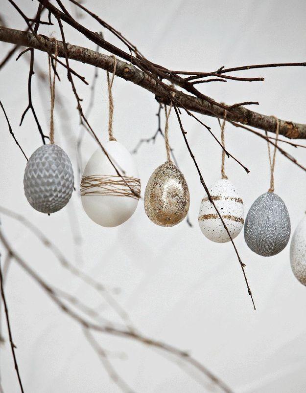 Une branche habillées de quelques œufs suspendus
