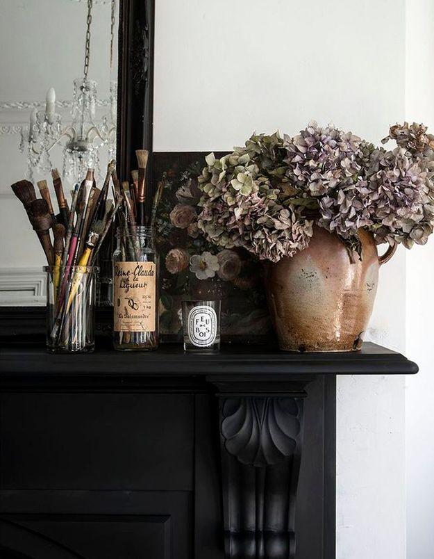 Un bouquet d'hortensias séchés