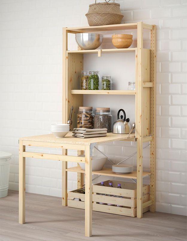 Rangement avec table pliante IKEA