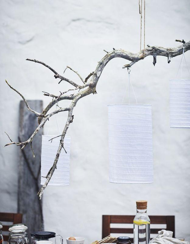 Fixer des lampions à une branche suspendue
