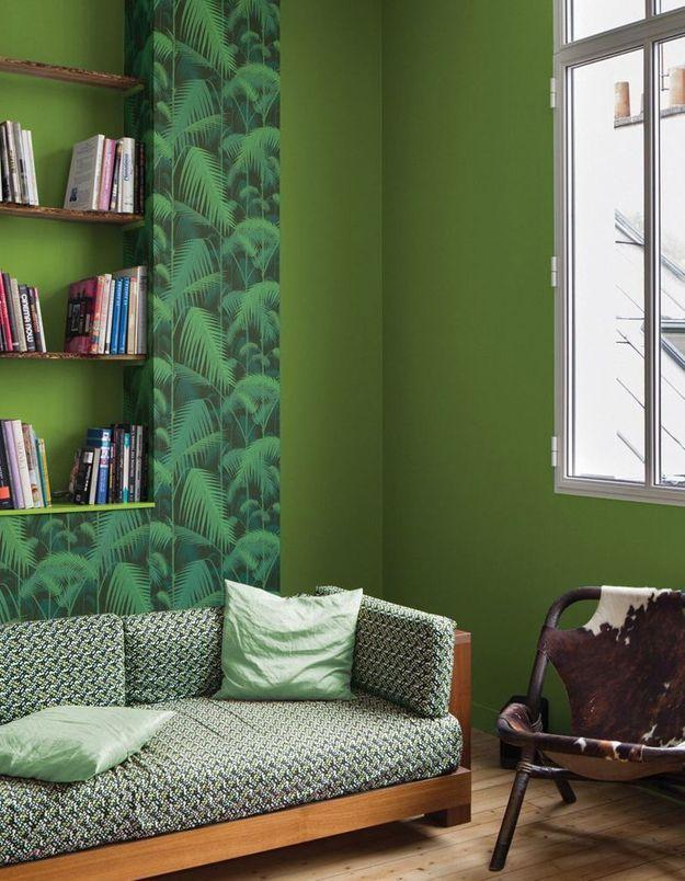Papier peint exotique vert