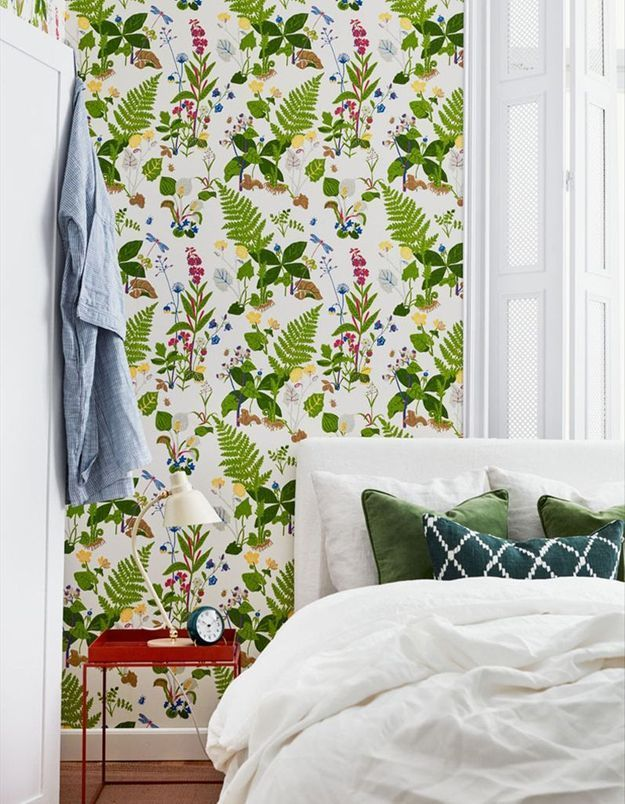 Papier peint végétal vert