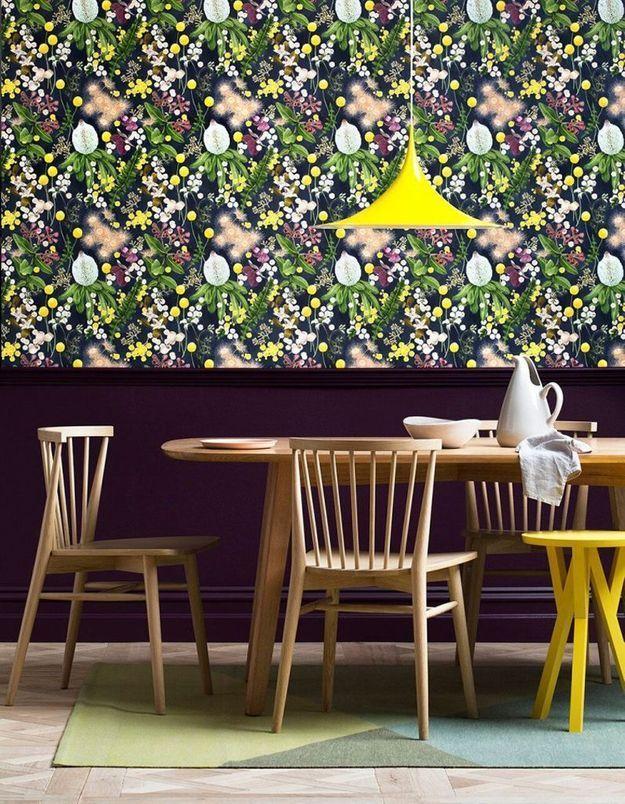 L'alliance peinture et papier peint au mur de Haymes