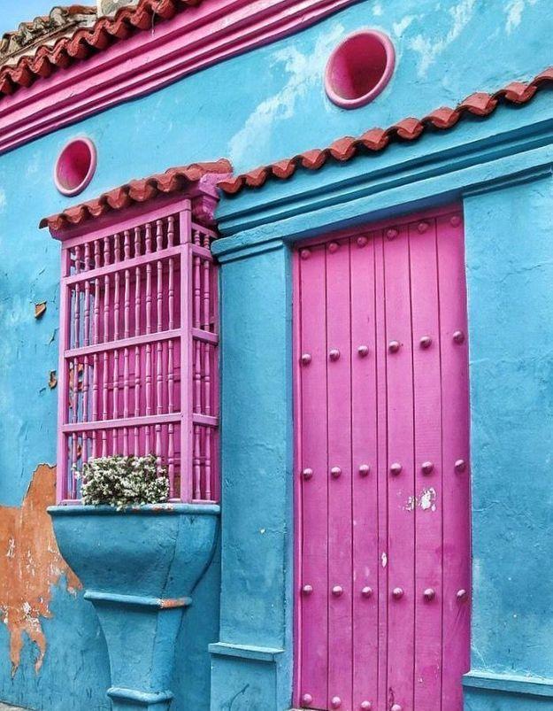 Maison colorée à Carthagène, Colombie