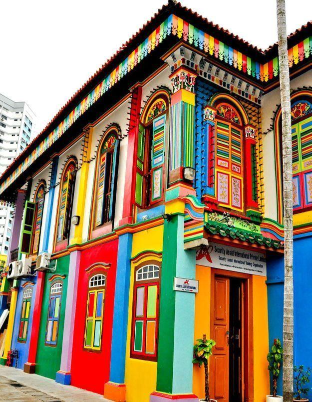 Maison colorée à Little India, Singapour