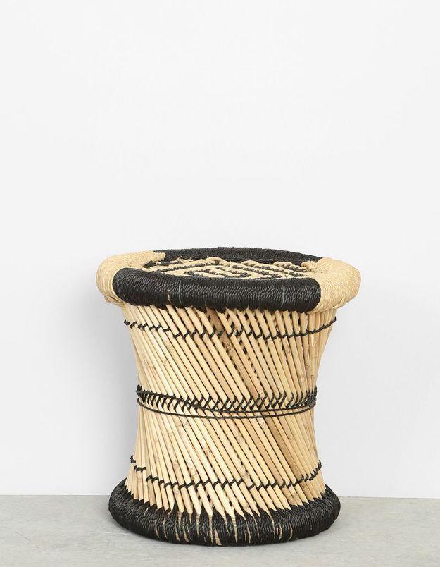 Tabouret tressé en bambou Pimkie Home