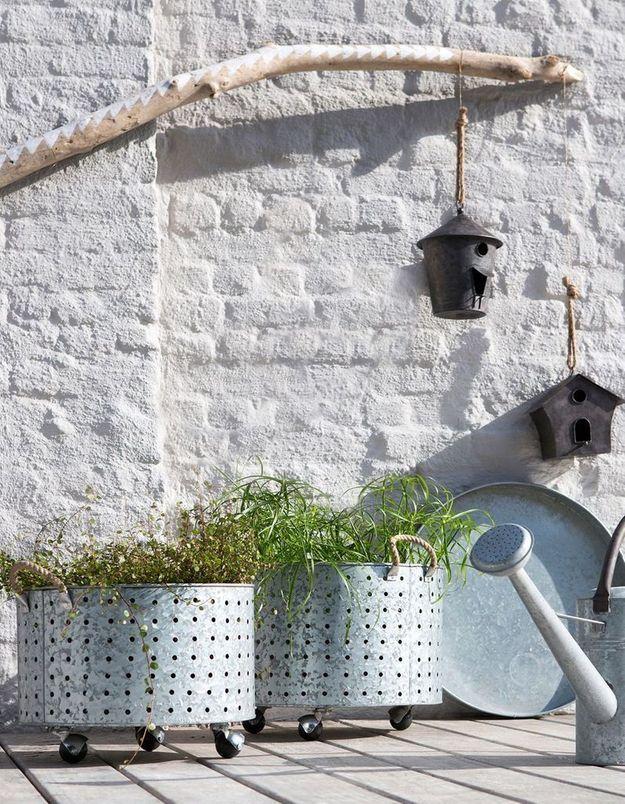 Cache-pots à roulettes soldés La Redoute Interieurs