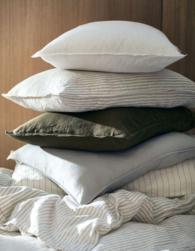 Taie d'oreiller en lin soldée H&M Home