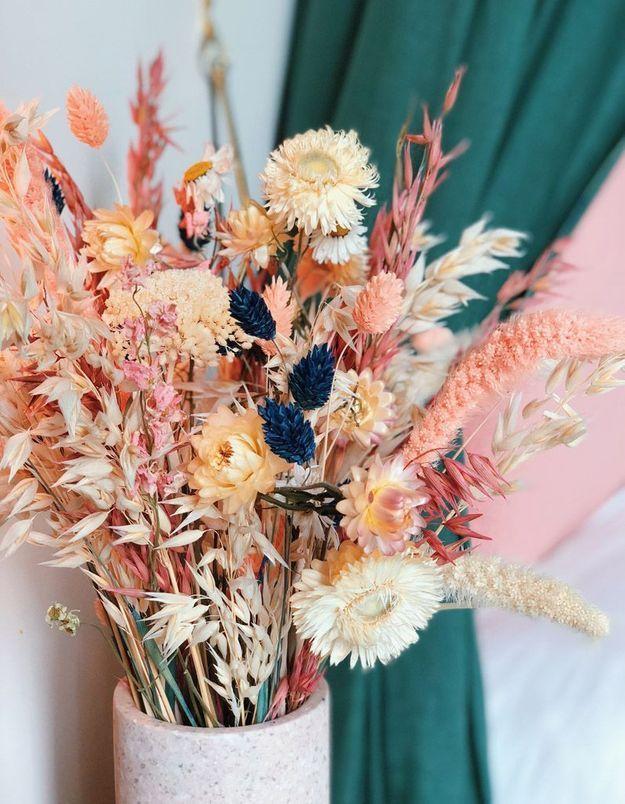 Une déco fleurie via des fleurs séchées