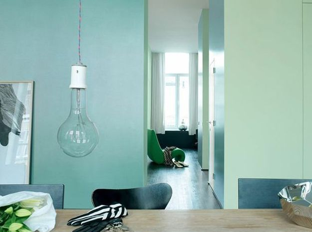 Le bleu turquoise associé au vert menthe