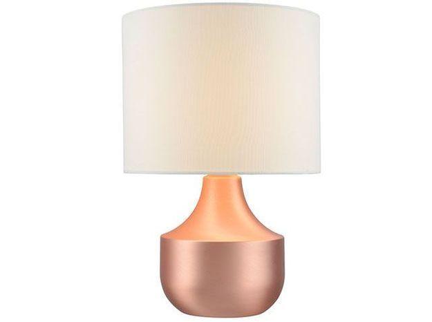 Lampe à poser blanche et or rose