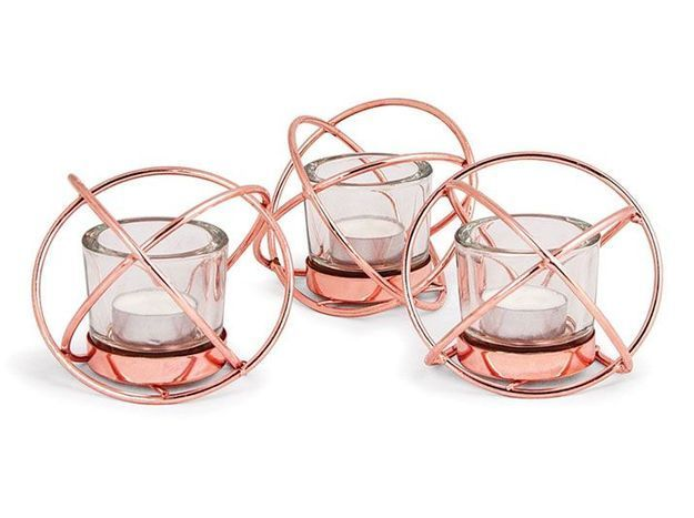 Porte-bougies futuriste rose gold