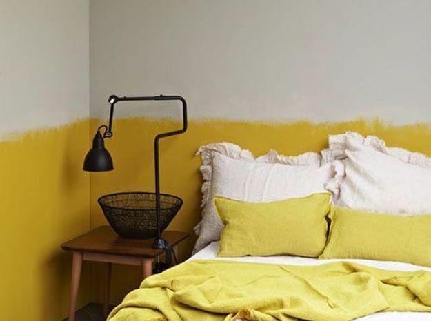Une frise jaune moutarde pour le mur
