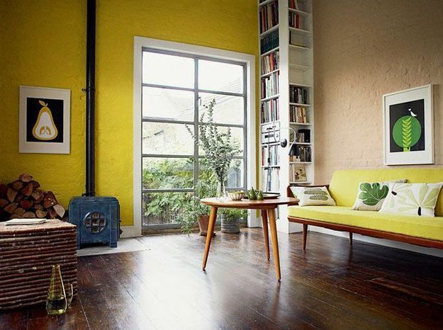 Un mur jaune citron