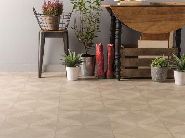 Un sol en PVC à motif carreaux de ciment