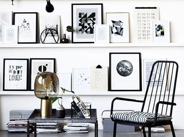 Une collection de cadres noir et blanc