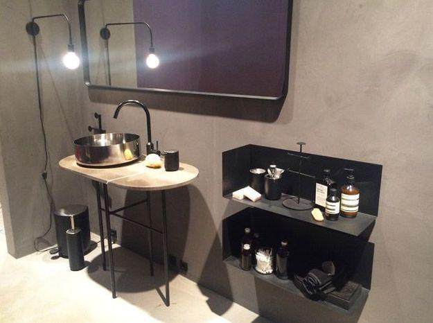 Salle de bains noire minimaliste menu