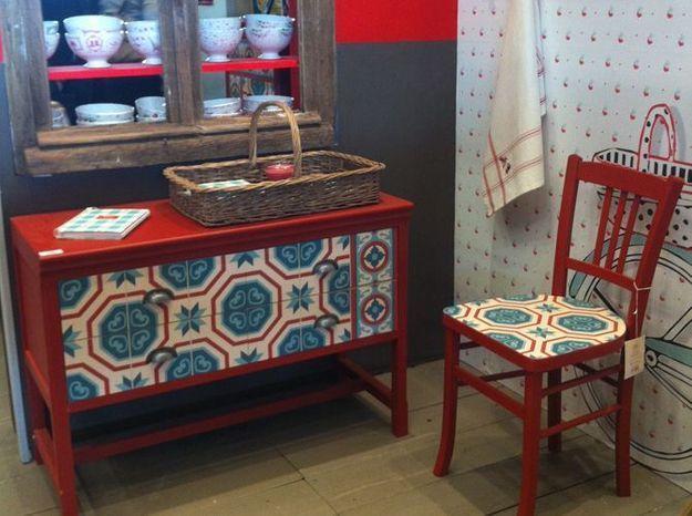 Le mobilier rétro rouge de Comptoir de Famille