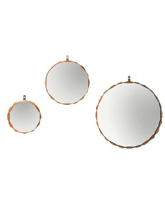 Miroirs cerclés de cuir