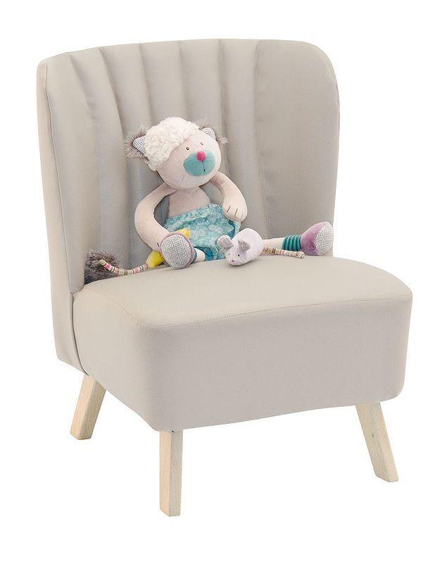 Fauteuil en skaï gris, collection Les jouets rétro, Moulin Roty