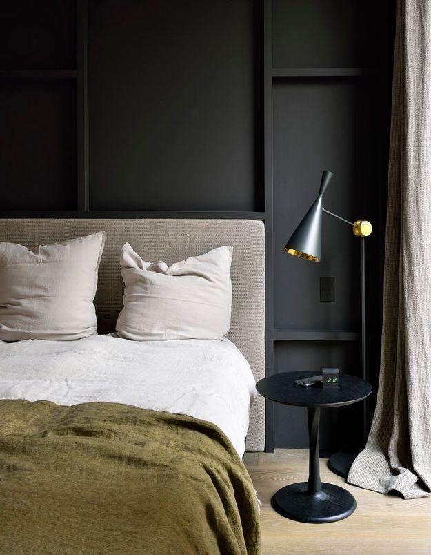 Une chambre grise contemporaine