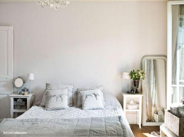 Chambre romantique bleu gris
